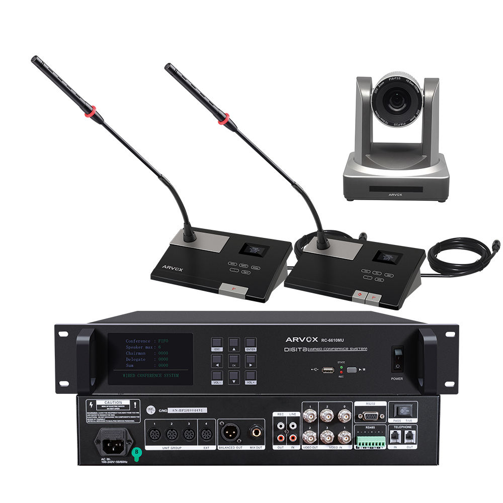 Wired discussion digital audio auto camera tracking voting meeting room microphone video conference system