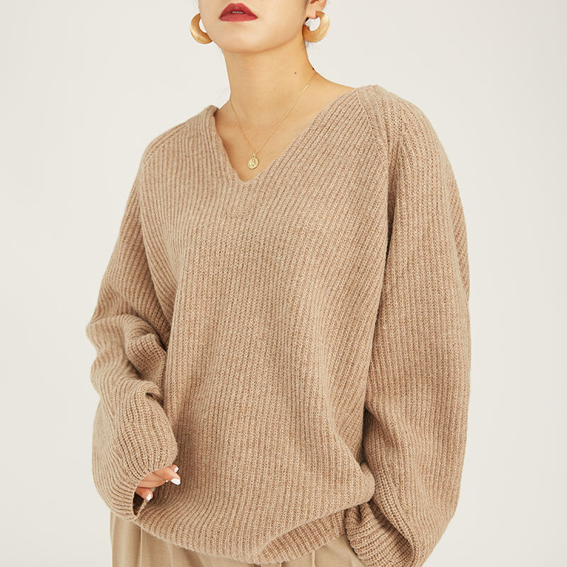 Customizable fashion Light brown V-collar occupation casual women sweater