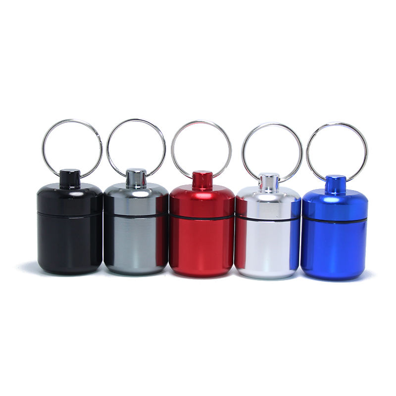42*27MM Aluminum Pill Case Key Chain Waterproof Seal Medicine Organizer Box Capsule Holder Container Metal Pill Holder Keyring