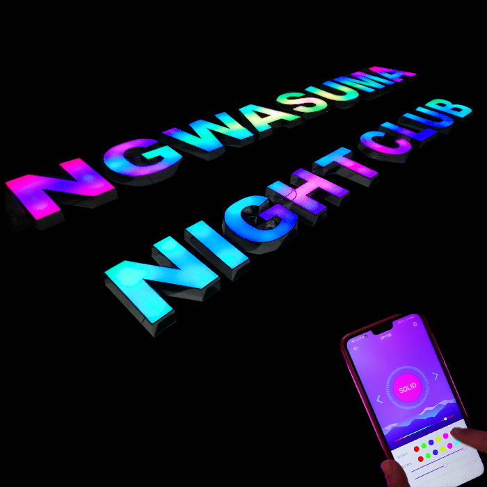 custom night bar acrylic led rgb color light luminous letter sign outdoor hanging pub bar night club sign
