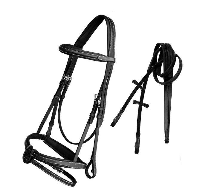 SHEMAX LEATHER HORSE BRIDLE FULLY BLACK/TAN PADDED WITH RUBBER REIN
