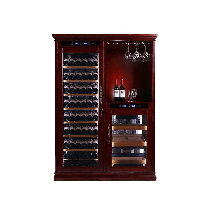 Wine Cellar Coolers Cabinet with Humidity and Temperature Control Wine Cooler and Cigar Humidor Combination
