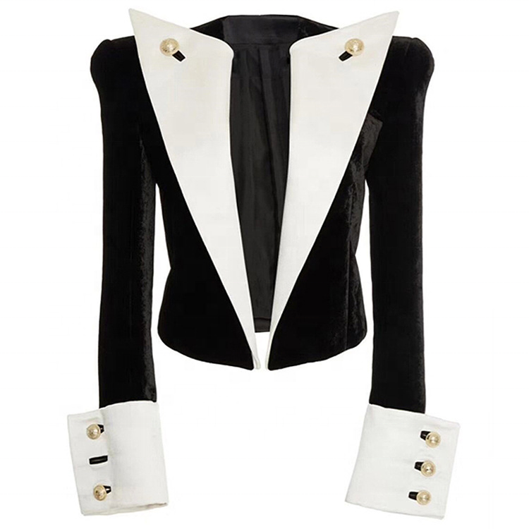 2020 new arrivals wholesale fashion vintage contrast color women ladies velvet blazers