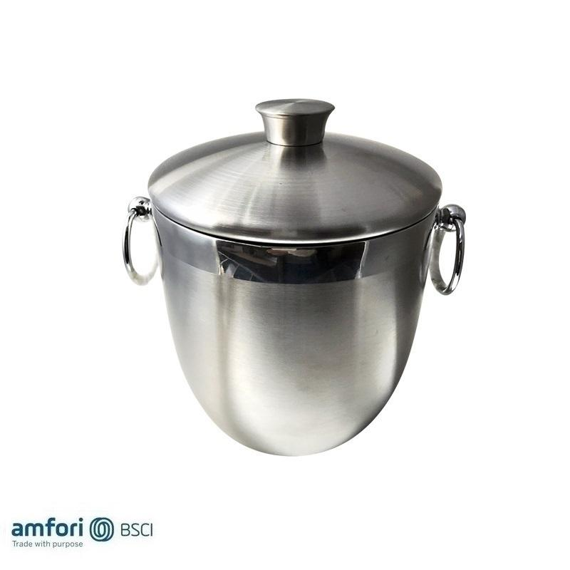 China Membuat Bentuk Bulat Stainless Steel <span class=keywords><strong>Pesta</strong></span> Stand Double Wall Ice Bucket