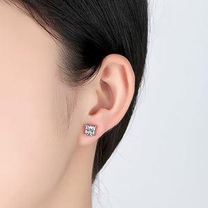 Custom 925 sterling silver square princess cut cz cubic zirconia stud earrings