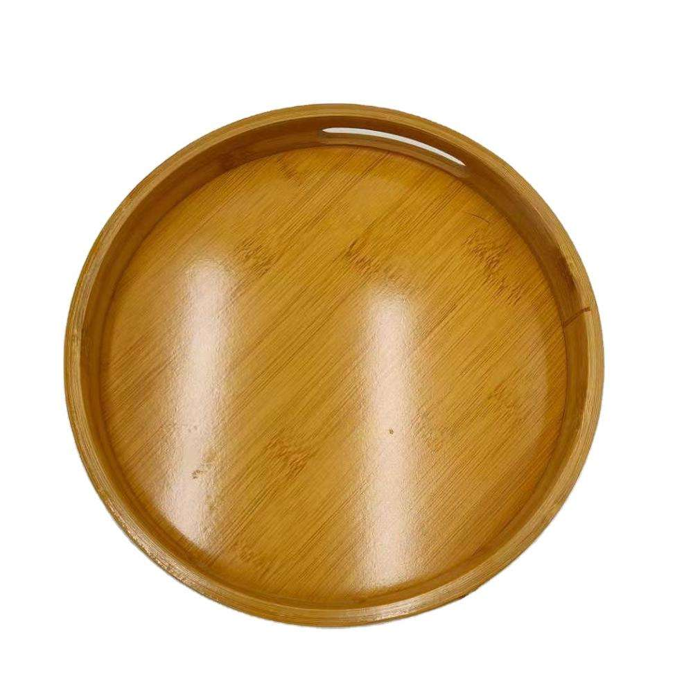 Double hands natural bamboo tea fruit hotel tray