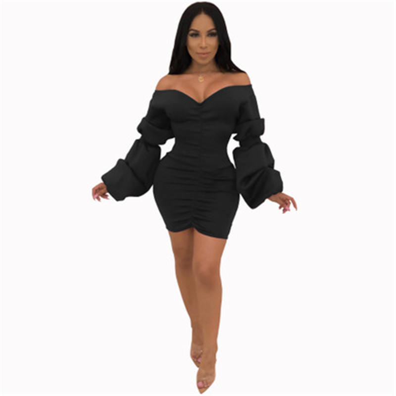 High-selling sexy off-the-shoulder night V-neck low-cut dress with a single neck bandeau Slim long-sleeved women's bag hip skirt