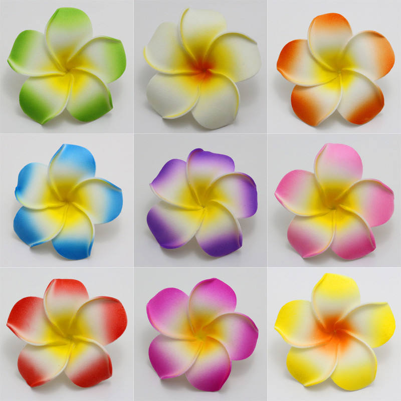 A-614 4-11cm Kunstmatige EVA Wit Geel <span class=keywords><strong>Plumeria</strong></span> Rubra Foam Hawaiiaanse Bloem Voor Wedding Party Decoratie