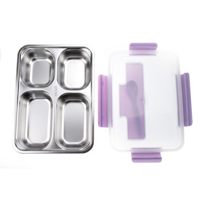 4 Compartments Plastic Stainless Steel Lunch Box with Leakproof Lid OEM