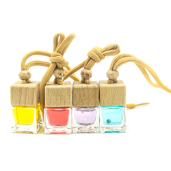 Square Shape Glass Car Perfume Bottles Pendant 5ml Perfume Empty Hanging Car Diffuser glass Bottle