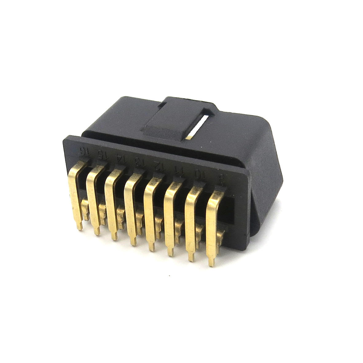 universal J1962 obd2 obdii connector black PA66 material solid 90 Degree for PCB 12v/24v 16pin obd male connector