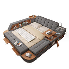Bedroom Furniture King size Bed Bluetooth Speaker Luxury Modern Fabric smart Queen twin bed with storage tatami design soft bed