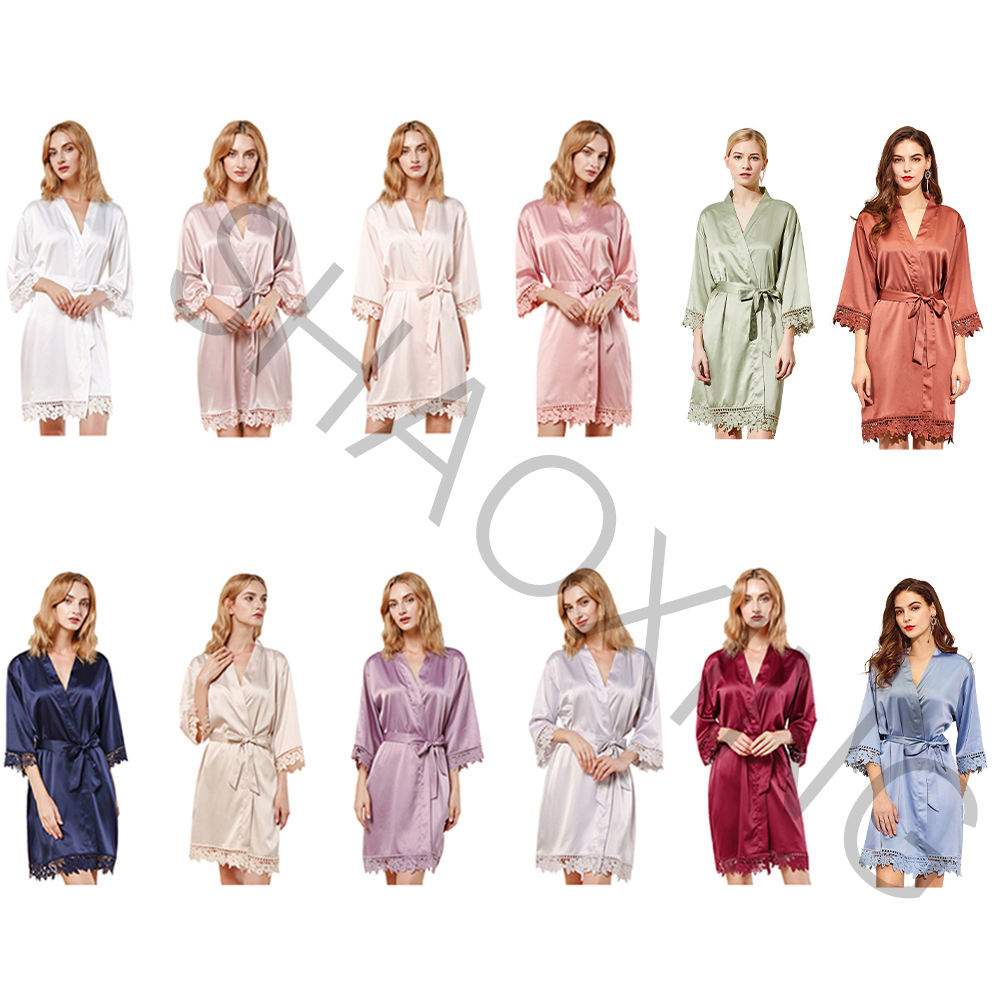 819 Factory Wholesale Hot Sale Bridal Party Polyester Custom Silk Satin Bridesmaid Lace Robe for Wedding Gift Swimsuit