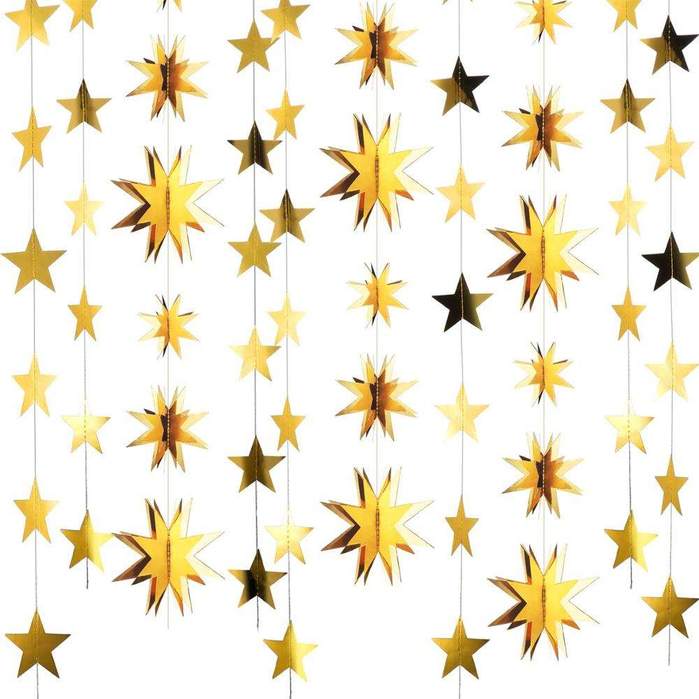 Gold foil paper 3D Six-star hanging garland for wedding new year party decoration