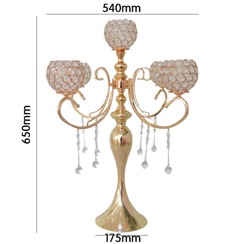 5-arm Crystal Wedding Table Decoration Gold Candelabra
