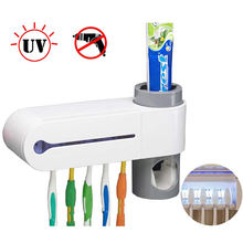 Electric Ultraviolet Light Sterilization 5 Toothbrush Sterilizer Holder Automatic Toothpaste Dispenser Set