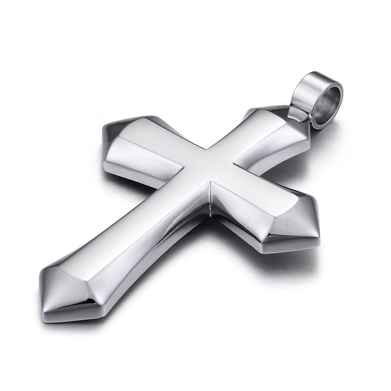 Wholesale Stainless Steel Silver Color Cross Pendant Necklace/
