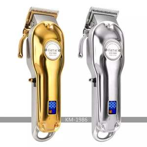 kemei electric hair clipper KM-1986 hair clipper with lcd fast charging and 5 hours long time working salon professional trimmer