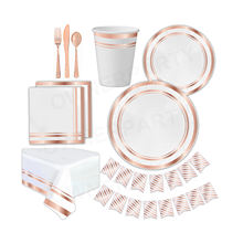 Gold Party Plates Bridal Shower Perfect Wedding Party Pack for Anniversary Gold Foil Rose Gold party Supplies