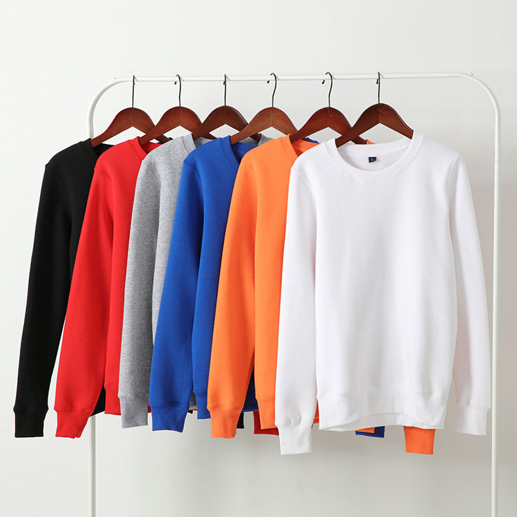 High Quality OEM Custom Blank 500GSM Fleece Sweatshirts Wholesale Plain Bulk Crew Neck Sweatshirts