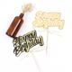 Gold black cake accessories design cake decorating happy birthday cake toppers with bow