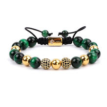 High quality new design CZ diamond ball natural gemstone tiger eye handmade macrame bracelet for women men