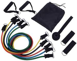 11Pcs Resistance Bands Yoga Pilates Fitness Equipment Elastic Pull Rope Workout Latex Tube Set