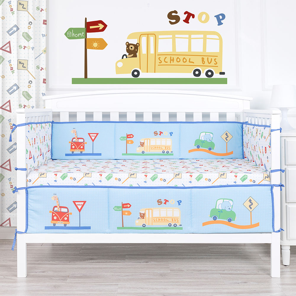 Traffic cartoon car printed cartoon crib bumper pads 4pcs breathable bed bumper for baby