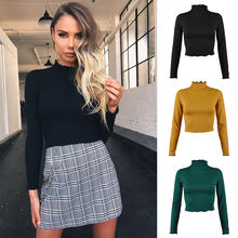 Custom 2020 Autumn solid long sleeve half turtleneck knit rib blouse tops for ladies