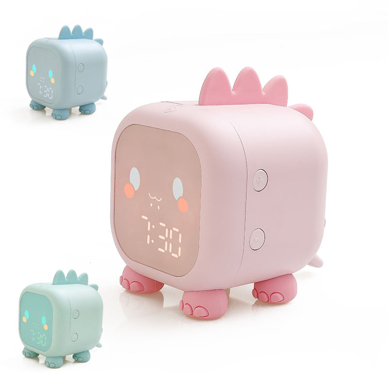 2021 New Arrivals Oem/Odm Kinderen Slaap Trainer Tafel Led Klok Night Light Pink Kids Alarm Digitale Klok