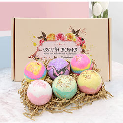 Hot sale 6 packs of bath salt OEM wholesale private brand handmade colorant custom carbonated foam bomb rainbow bath ball