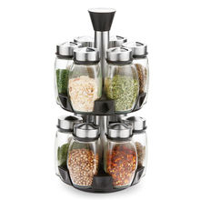 Kitchen rotating spice storage jars set expandable with condiments storage holders rack organizer for cabinet