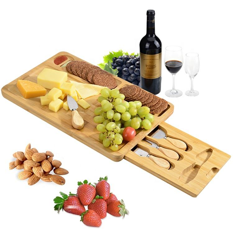 Cheese Board and Knife Set Bamboo Plate Cut Board Serving Tray Charcuterie Platter with Slide-Out Drawer Cutting Board Kitchen