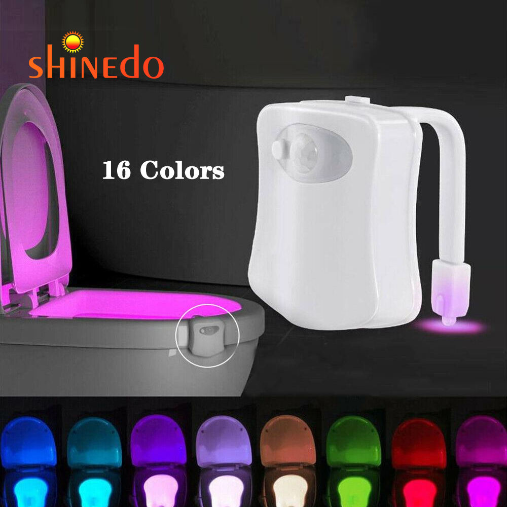 battery powered 16 colors random switching motion sensor toilet bowl light, waterproof LED toilet night light