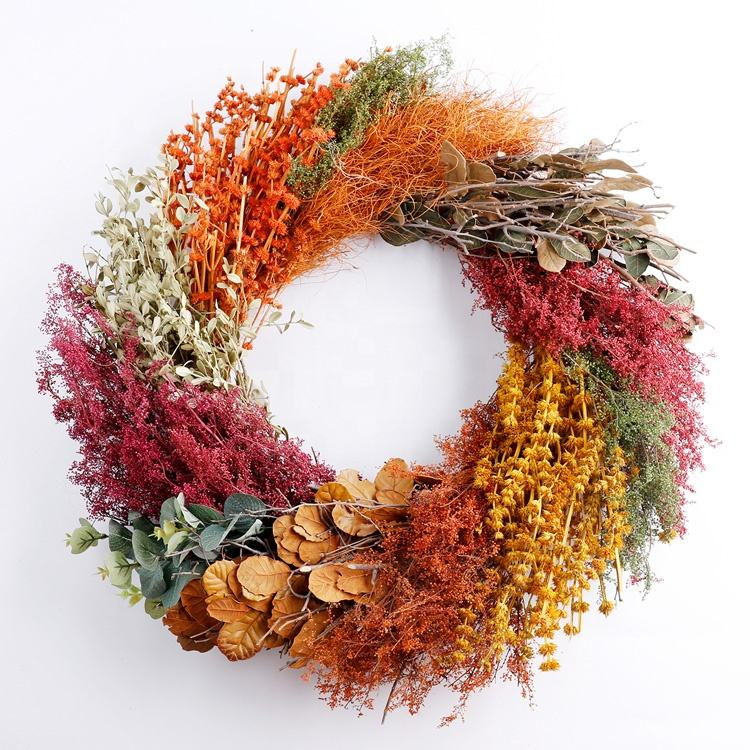 Top Quality Factory Direct Dried Flower Wreath Dry Fruit Wreath with Good Service