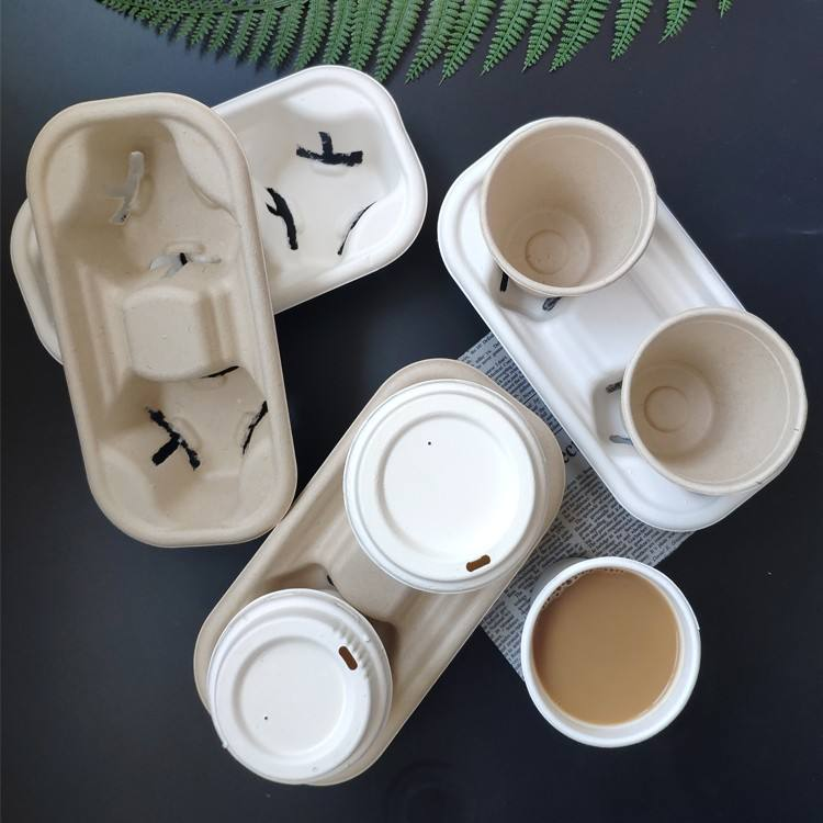 2 Cup 4 Cup Pulp Mould Disposable Bagasse Sugarcane Paper Coffee Cup Holder
