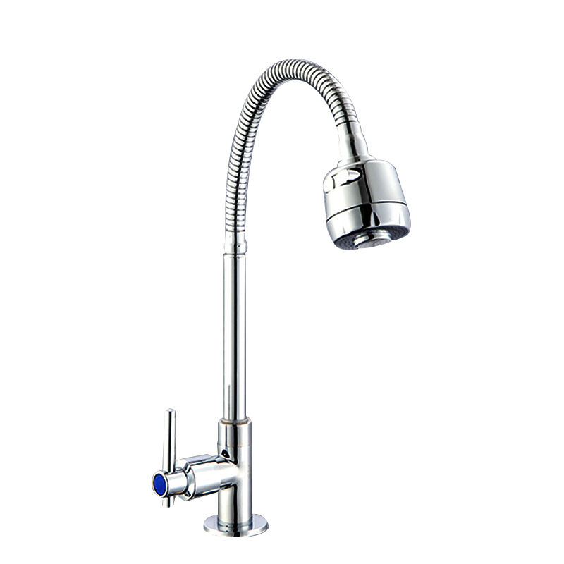 Jooka new design cold water long flexible steel hose neck tap kitchen sink faucet