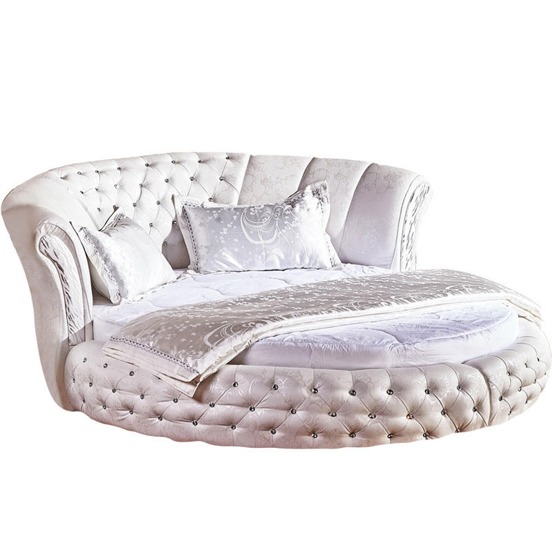 New design White double bed set furniture King size Modern Round Leather Bed