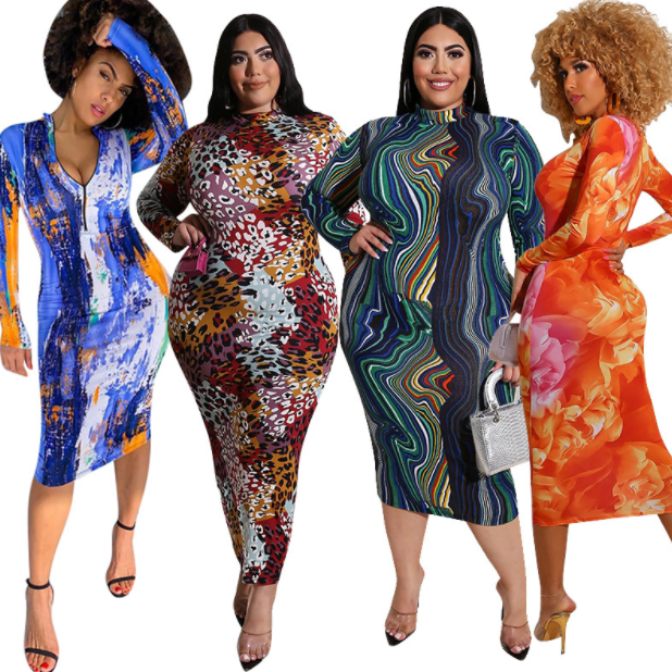 Wholesale hot fashion leopard african dresses graffiti printing dresses women elegant wear on both sides plus size dresses sexy