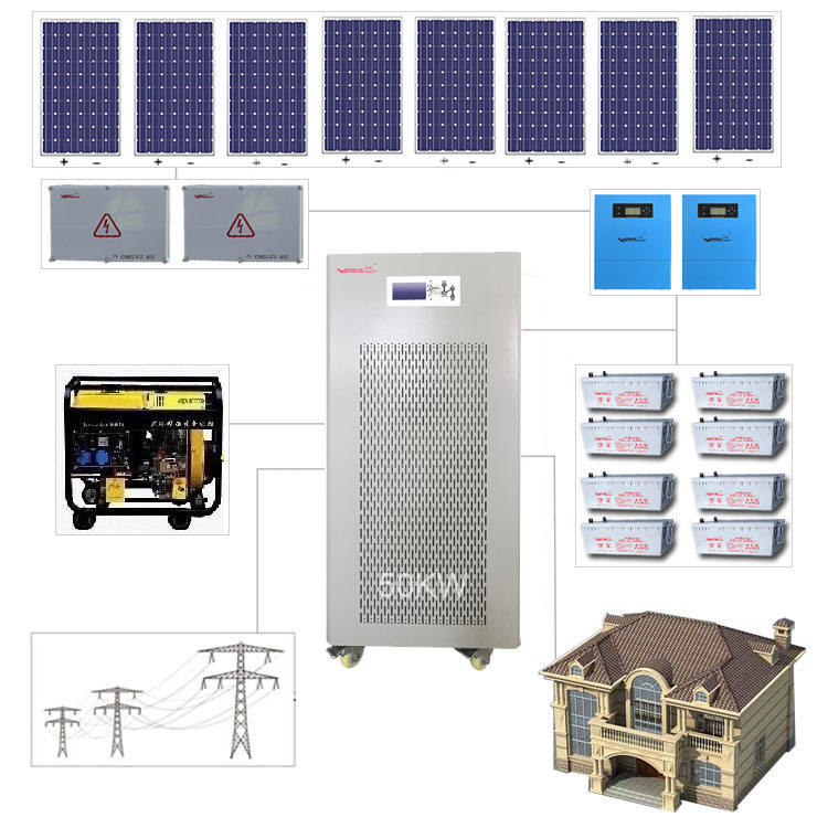 50kw off grid hybrid solar energy systems complete solar power system 60kw solar panel generator system