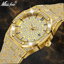 MISSFOX Hot Diamond Watch Mens Luxury Ap Classic Design Calendar Shock Low Moq Unbranded Business 18k Gold Plated Iced Out Watch