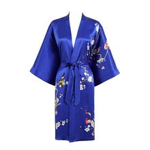 Summer Active Elegant Blue Women Night Dresses Pajamas Short Style Japanese Kimonos Bath Robes 100% Silk Bridal Sexy Nighty Gown