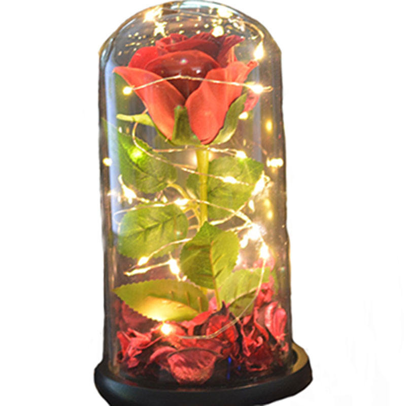 2021 Silk Artificial Flowers Christmas Online Wholesale ChinaでGlass Dome Wood BaseとLED String Light Colorful Forever Rose