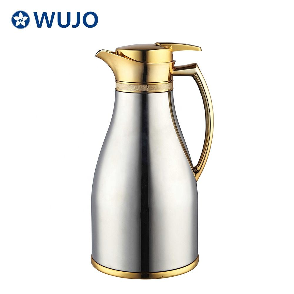 China supplier 1l glass refill inside flask thermos double wall arabic brass turkish glass coffee pot dallah