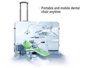 CE approved high quality dynamic small mobile dental chair suitcase portable dental unit with air compressor