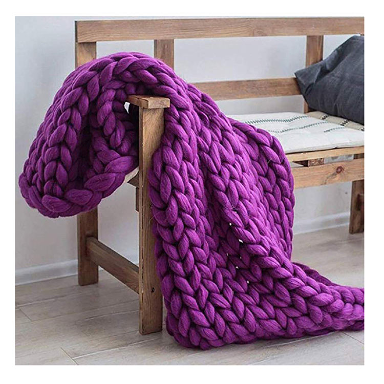 All Season Adult Super Soft Heavy Thick Vegan Yarn Chunky Hand Made Knit Throw Blanket with Fringe