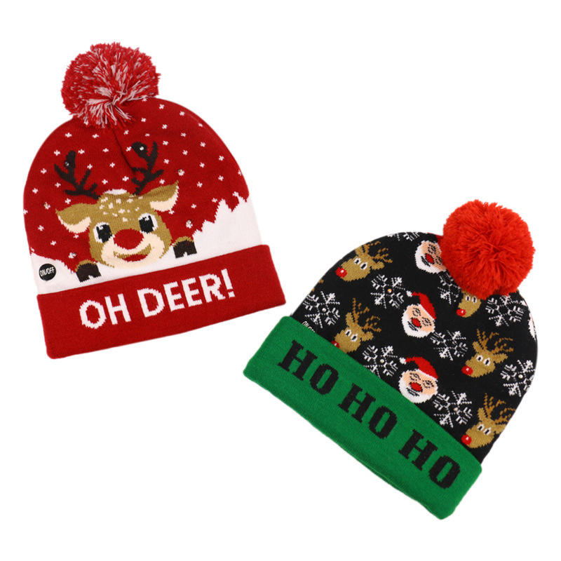 Christmas ho ho ho deer knitted hats for adults children led light hat winter festival party beanie hat with pom pom wholesale
