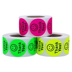 Hybsk(TM) Round Thank You Smiley Face Happy Stickers 500 Adhesive Labels Per Roll
