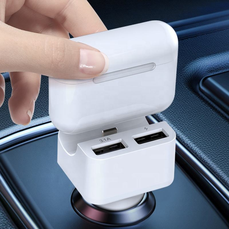 LUTU 2020 Y11 custom dual usb car charger with Airpods Headphone charger and TWS earphone charger function