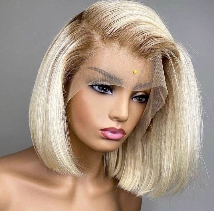 Raw Virgin Cuticle Aligned Blonde Transparent Lace Front/Frontal Wig T4/613 Human Hair Lace Front Bob Wig For Women